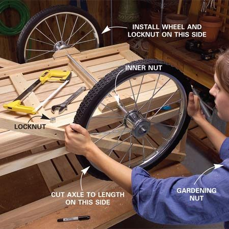 <b>Photo 14: Mark the axle length</b></br> Push the rod through the axle supports and bolt one wheel on, keeping the locknut flush with the axle end. Slide the other wheel on, hold its locknut in place and mark the threaded rod at the locknut.