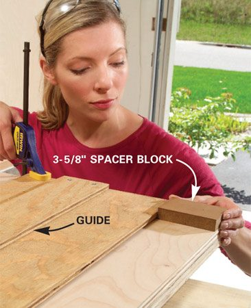 <b>Photo 3A: Use a spacer block </b><br/>Use a spacer block to set the saw guide. It&#39;s faster than measuring every time.