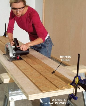 <b>Photo 3: Cut the rails </b></br> Position your ripping guide using a spacer block and clamp it into place. Then cut the 3-1/2-in.-wide plywood rails. Cut two sheets at once to speed up the job.