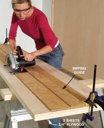 <b>Photo 3: Cut the rails </b><br/>Position your ripping guide using a spacer block and clamp it into place. Then cut the 3-1/2-in.-wide plywood rails. Cut two sheets at once to speed up the job.