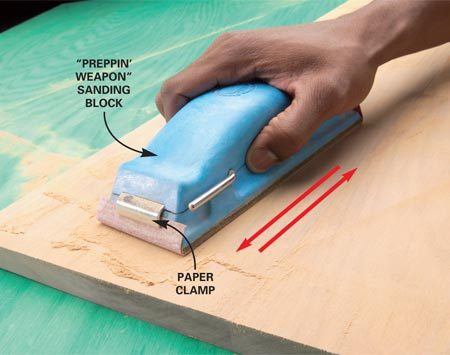 <b>Use a sanding block</b><br/>A sanding block increases sanding speed and efficiency. Change paper often.
