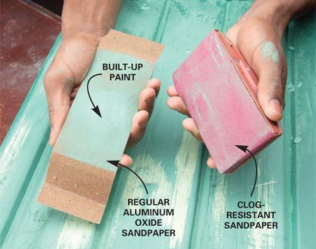 <b>Clog-resistant sandpaper</b><br/>Paint quickly builds up on standard paper. Paint builds up more slowly on special resistant paper.