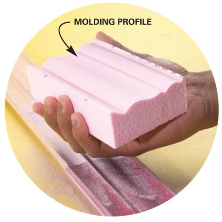 <b>Photo 2A: Close-up of foam profile</b></br> Make three foam blocks, one for each of the three grits.