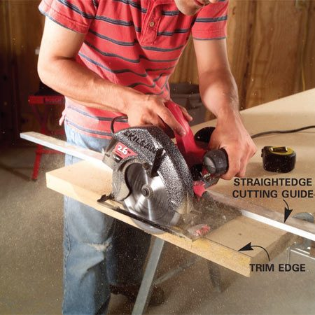<b>Photo 3: Trim the top</b></br> Trim the top to size once the glue has set. Clamp a straightedge to the top to get a perfectly square and straight cut on each edge.
