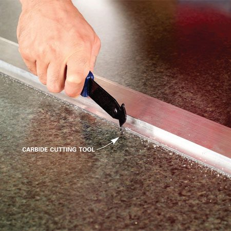 <b>Close-up of carbide cutting tool in use</b></br>