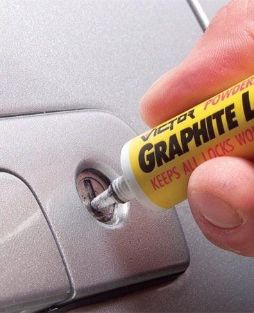 <b>Add graphite to door locks</b></br> Graphite powder keeps delicate lock mechanism working.