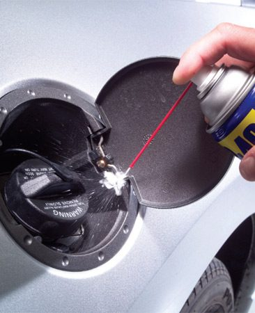 <b>Gas tank lid</b></br> Lubricate the hinge with WD-40.