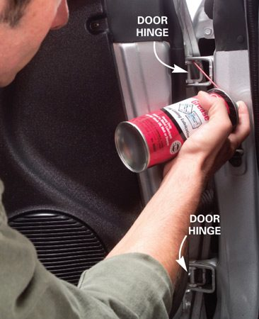 <b>Spray door hinges</b></br> Spray door hinges with WD-40 then squirt with white lithium grease.