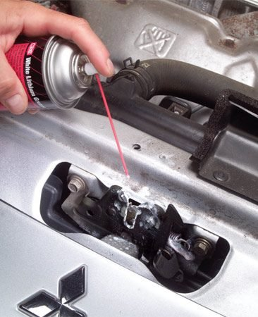 <b>Spray lubricant and grease on clean latch</b></br> Spray with WD-40 first, then wipe and coat with white grease.