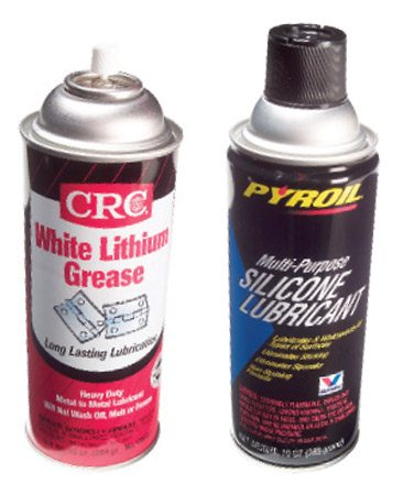 <b>Close-up: White lithium grease and silicone spray</b></br>