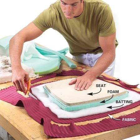 <b>Photo 1: Cut the foam, batting and fabric</b><br/>Cut the foam about 1/2 in. larger than the wood seat. Cut the batting at least 2 in. larger and the fabric at least 3 in. larger.