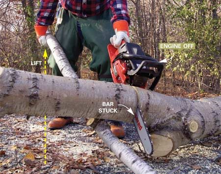 <b>Photo 6: Take the pressure off the saw during a cut. </b></br> <p>Stop the engine if the bar gets bound up or stuck. Then use a stout branch or 4x4 to lift the trunk and open the cut enough to remove the saw.</p>