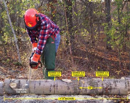 <b>Photo 7: Saw the trunk into firewood</b></br> <p>Cut a log into 16-in. lengths for firewood by first sawing three-quarters of the way though the log. Then roll it over and complete the cuts.</p>