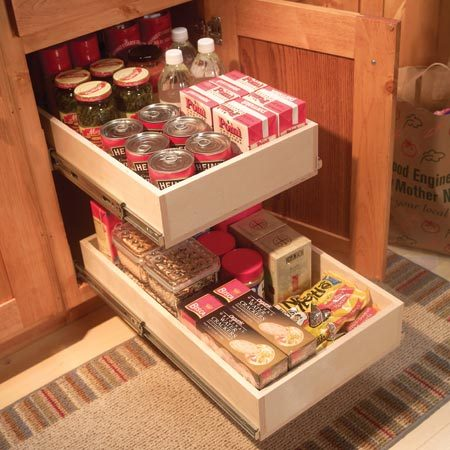 <b>Pantry</b></br> Used narrow rollouts in pantry cabinets or cabinets with center dividers.