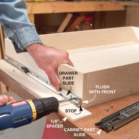 <b>Photo 6: Screw on the drawer side of the slide</b></br> Separate the drawer slides and space the drawer part 1/4 in. up from the bottom. Hold it flush to the front and screw it to the rollout side.