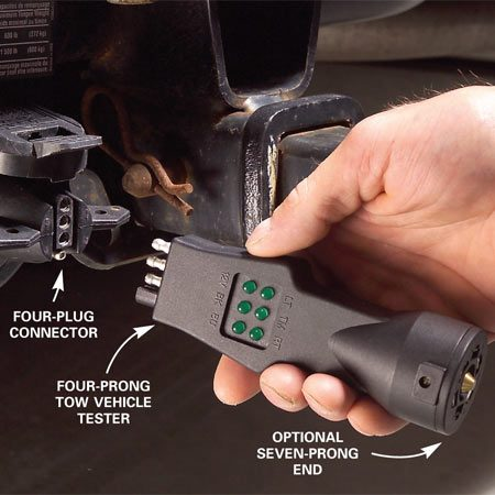 <b>Check the vehicle system</b></br> Plug a tow vehicle tester into the connector in the vehicle to make sure the system works.