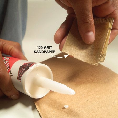 <b>Close-up</b></br> Smooth the tip with sandpaper.