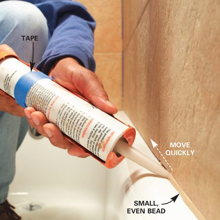 <b>Photo 3: Steady your caulk gun</b></br> <p>Set the tip at the starting spot. Hold the caulking gun at a consistent angle and keep moving quickly while you squeeze steadily on the handle. </p>  <p><strong>TIP:</strong> Align the angle on the tip of the tube to the caulk gun handle. Then tape the tube in place. This way you won't have to check the position of the tip every time you start caulking.</p>