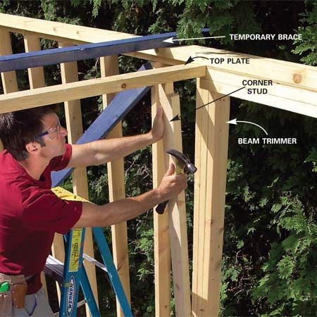 <b>Photo 10: Frame the front wall</b></br> Notch the top plate for the front wall and nail it to the back of the porch beam on each side. Notch the corner stud to fit around the beam so that it's flush with the beam trimmer stud. Complete the front wall framing.