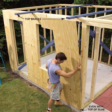 <b>Photo 11: Sheathe the walls</b></br> Sheathe the side walls with 1/2-in. plywood starting at the back. Nail the plywood to the studs every 6 in. with 2-in. cement-coated nails.