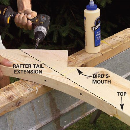 <b>Photo 14: Add the rafter tail extensions</b></br> Glue and screw the curved rafter tail extensions to the ends of each rafter with 3-in. screws.