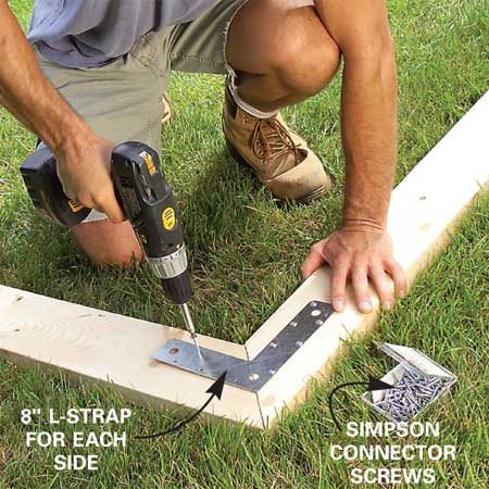 <b>Photo 15: Join the rafter pairs</b></br> Fit the 45-degree end cuts and screw an L-strap across the miter on each side. Connect all 11 pairs. Then cut the two remaining pairs of rafters to 3-1/2 in. wide by ripping the inner edge.