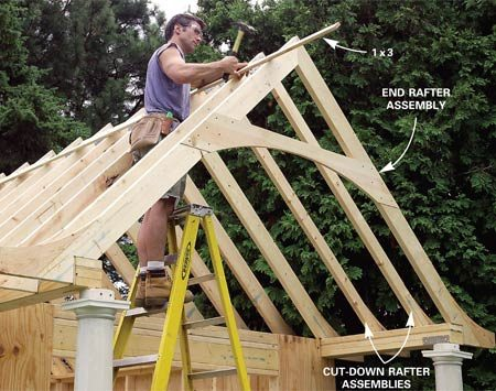 <b>Photo 20: Temporarily space the rafter tops</b></br> Nail the tops of the rafter assemblies together with a long strip of 1x3 pine to maintain the correct spacing. Note the two cut-down rafter assemblies over the porch.