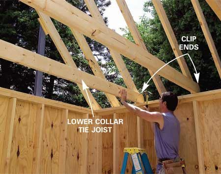 <b>Photo 21: Install lower collar ties</b></br> Nail the three lower 2x6 collar tie joists to every other set of rafters, removing the temporary braces across the top as you go. Cut a 45-degree triangle from each joist end to keep them from protruding above the rafters.