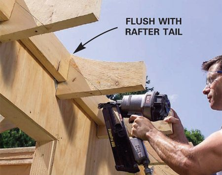 <b>Photo 22: Add filler blocks</b></br> Nail 2x6 filler blocks to the walls between the rafter tail extensions. Make sure the blocks meet the curves of the rafter tails.