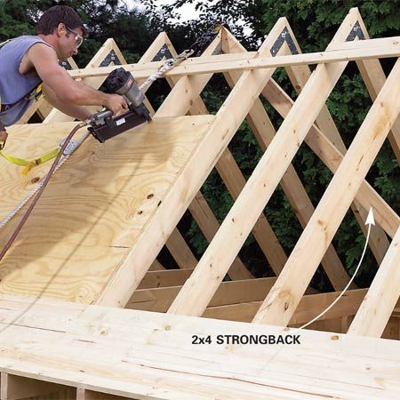 <b>Photo 25: Complete roof sheathing with plywood</b></br> Angle a 2x4 strongback from the center top of the front wall to the sixth set of rafters (count from the back wall) to keep the rafters plumb. Then nail the plywood to the roof with 8d nails every 6 in. Have a helper lift the sheets while you stand on the curved section of the roof.