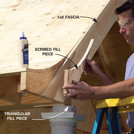<b>Photo 27: Install fascia boards</b></br> Cut and nail the front 1x8 fascia boards to the front rafter. Then scribe a piece to the roof curve, cut it with a jigsaw and nail it to the rafter end. Add small triangular piece as well at the top of the column.
