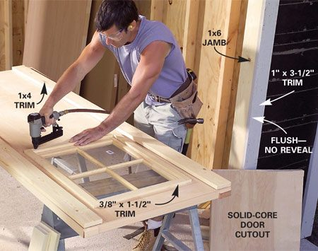 <b>Photo 31: Modify a solid core door</b></br> Cut the window opening from a solid-core door and nail thin stop inside the cutout to support the window sash. Next install the sash and the trim. Glue and nail battens on the door as shown in Figure D. Shim the doors into the opening and then install face-mounted hinges with painted lag screws.