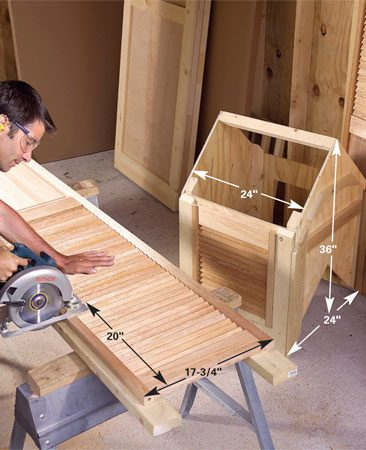 <b>Photo 32: Assemble the cupola</b></br> Build the 24-in. square cupola box from 1/2-in. plywood and 2x2s for the inside corners. Cut holes and mount sections of a louvered bifold door for ventilators on each side of the cupola.