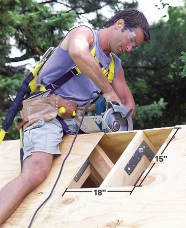 <b>Photo 33: Cut the roof hole</b></br> Cut the opening for the cupola. Then lift the roofless cupola and position it over the hole. Screw the 2x2 cupola cleats to the roof sheathing.