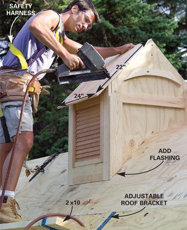 <b>Photo 34: Install the cupola</b></br> Nail the roof panels to the cupola and add the trim. Now you're ready to shingle!