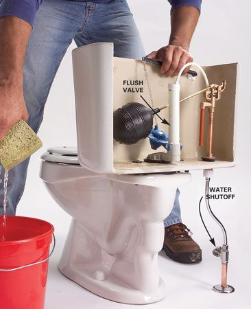 <b>Photo 1: Remove the water from the tank</b></br> Replace the fill valve. Turn off the water at the shutoff valve. Flush the toilet and hold the flush valve open to drain the tank. Sponge out the remaining water or vacuum it up with a wet/dry vacuum.