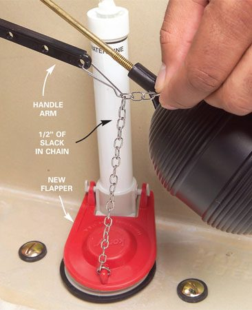 <b>Photo 3: Install the new flapper</b></br> Attach the new flapper to the overflow tube and hook the chain to the handle arm. Leave 1/2 in. of slack in the chain. Turn the water back on and test flush the toilet.