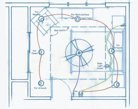 Before you start this project, draw a simple wiring scheme to plan your lighting.