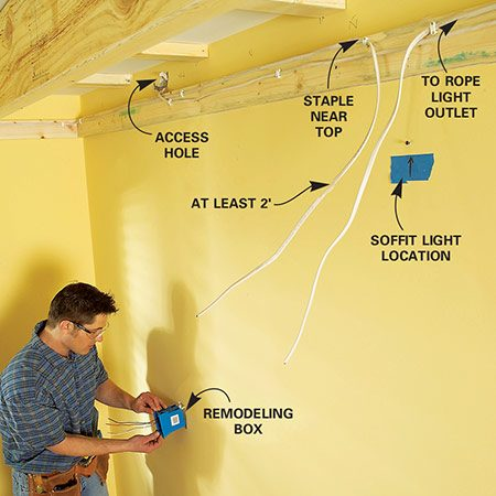 <b>Photo 6: Wire the lights</b></br> Install the wiring. Cut holes for the switch boxes, feed in the cable and run it to all the light locations. Leave an extra 2 ft. of cable at each light.