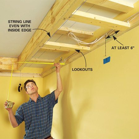 "<b>Photo 7: Add lookouts</b></br> String a line along the bottom inside edge of the 2x2 and cut 2x4 ""lookouts"" spaced every 24 in. Keep them at least 6 in. away from light locations."
