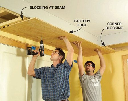 <b>Photo 9: Add the plywood</b></br> Rip 5/8-in. plywood to 28-1/2 in. wide and screw it to the framing with 1-5/8-in. screws. Orient the plywood with the factory edge facing the room.
