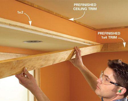 <b>Photo 16: Add the trim</b></br> Cut the ceiling trim and nail it into place. Then nail the 1x4 flush with the top of the 1x2 with 1-1/2 in. brads. Finally, add the trim on the back of the 1x4.