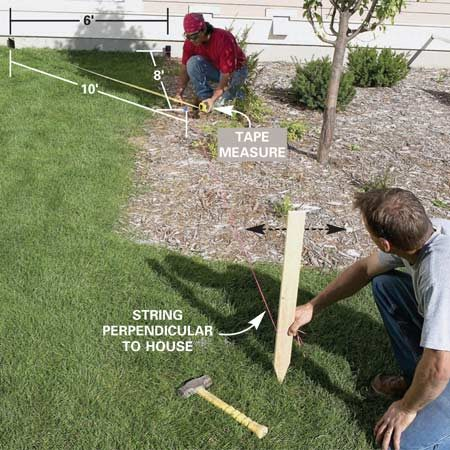 <b>Photo 1: Establish square lines off the house</b></br> Set a string line perpendicular to the house using the 6-8-10 (3-4-5) triangle method. Position it along one edge of the patio. Drive a stake in the ground about 20 ft. out, tie off the string, then double-check the angle.
