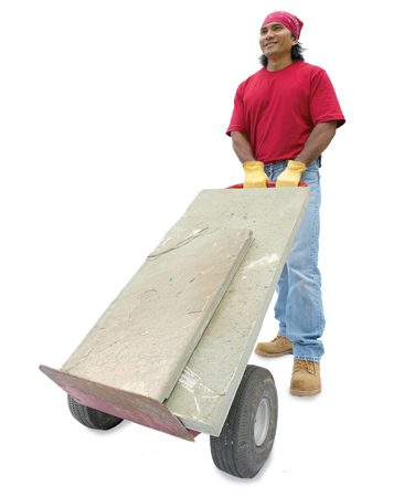 <b>Put stone on wheels</b></br> Avoid the heavy lifting by sliding stone onto the dolly and rolling it to the job site.