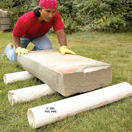 <b>PVC pipe rollers</b></br> Roll heavy materials on 4-in. PVC pipe. Use this technique on relatively flat ground only.