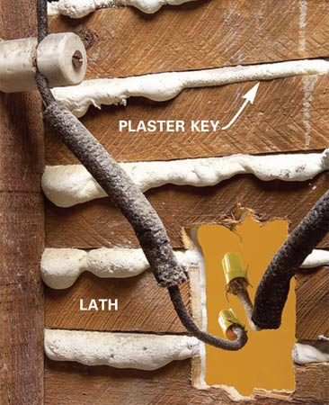 <b>Photo 3: Leave plaster keys intact</b></br> Cutting the hole accurately is critical so that the box ears have solid bearing on the plaster. Partially cut lath will support the top and bottom.