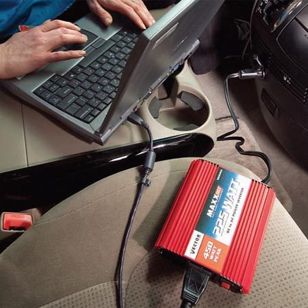 <b>Inverters for laptops</b></br> Most laptop computers work fine with inexpensive inverters, but check with the computer manufacturer to be sure.