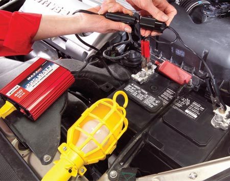 <b>Connection to battery</b></br> Use caution when connecting the inverter directly to your battery. Have the unit turned off when making connections. Keep the inverter away from engine heat and the cords clear of the radiator fan.