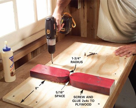 <b>Photo 1: Build the bending jig</b></br> Glue and screw two 2x4 blocks to a 16 x 36-in. sheet of 3/4-in. plywood, then screw the plywood to your workbench. Let the glue dry overnight before using the jig.