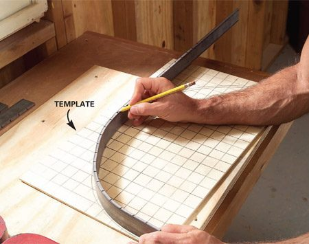 <b>Photo 5: Check the curve as you go</b></br> Check your bent bar with your template. Then insert the bar into the jig again and either bend or unbend it as needed. When you're finished, cut the steel to a 28-in. overall length with a hacksaw. Then smooth the rough edges with a metal file.